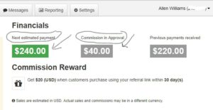 Example of Affiliate Commissions Earned On One Product In One Month. http://earnonlinehelp.com